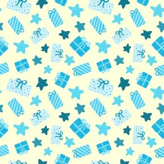 青いプレゼントと象牙の背景のシームレスなパターンの星。手描きギフトボックスリピートプリント。包装紙、包装、お祝い、装飾のための伝統的なデザイン。