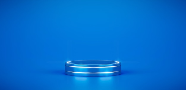 青い製品の表彰台ステージプラットフォームと抽象的な最小限の幾何学的な台座の背景ディスプレイは、モダンなスタジオのシンプルなショーケースで空のスペースのイラストアートシーンの空白の背景に立っています。 3dレンダリング。