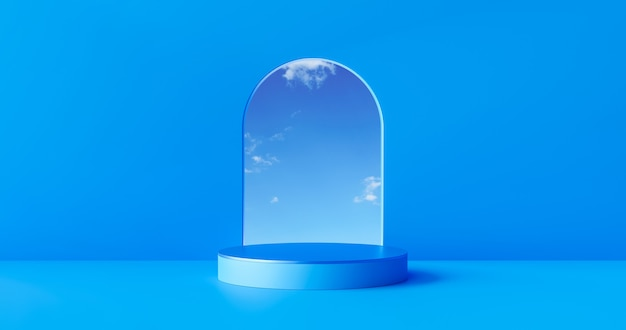 파란색 제품 무대 배경 또는 스튜디오 쇼케이스 배경으로 빈 현대 미술 방에 연단 받침대 디스플레이. 3d 렌더링.