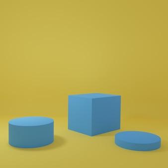 黄色の部屋にある青い製品スタンド製品の最小限のデザインのスタジオシーン3dレンダリング