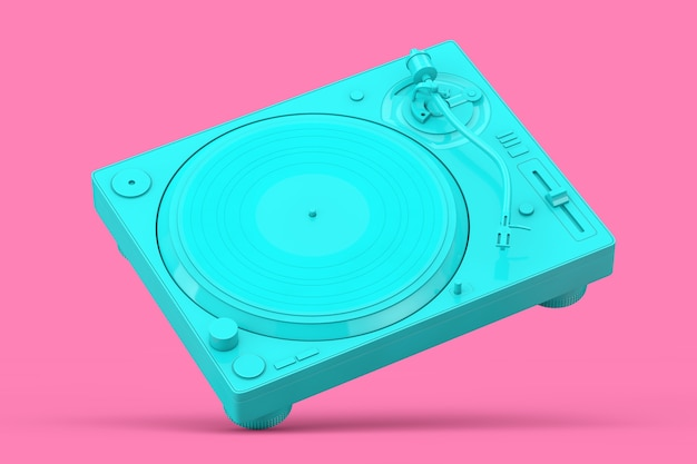 Blue professional dj turntable vinyl record player in duotone style on a pink background. 3d rendering