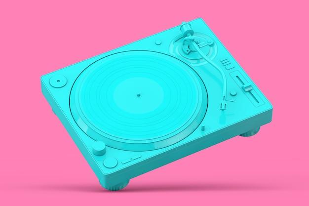 ピンクの背景にデュオトーンスタイルの青いプロフェッショナルdjターンテーブルビニールレコードプレーヤー。 3dレンダリング