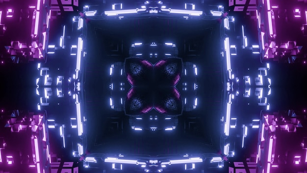Blue and purple abstract ornament shining with neon light and forming tunnel background