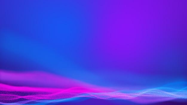 입자의 파란색 보라색과 분홍색 물결. 미래의 네온 빛나는 표면.