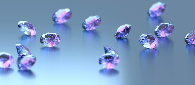 Blue and purple diamonds placed