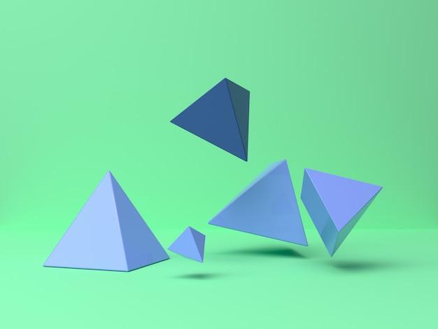 Blue/purple geometric shape falling/levitation abstract minimal green scene 3d rendering