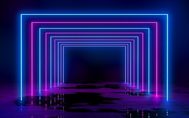 Blue and purple neon tube lights in the empty dark room 3d rendering illustration bachground
