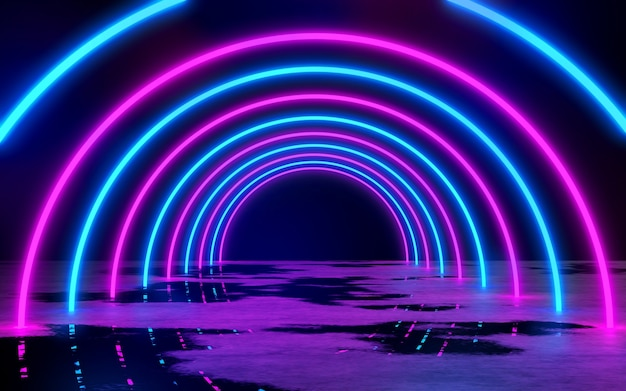 Blue and purple neon tube lights in the empty dark room 3d rendering illustration background