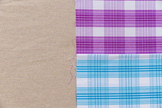 Blue and purple pattern fabric on plain sack cloth