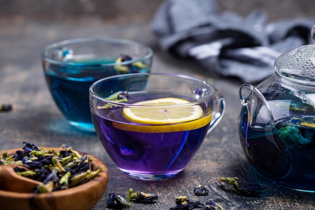 Blue and purple tea butterfly pea