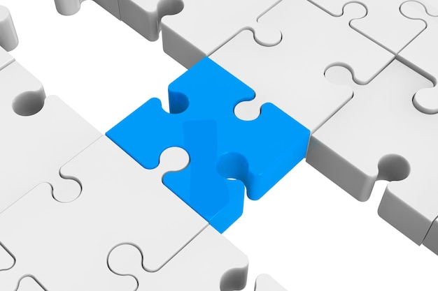 Blue puzzle as a bridge with a white parts on a white background