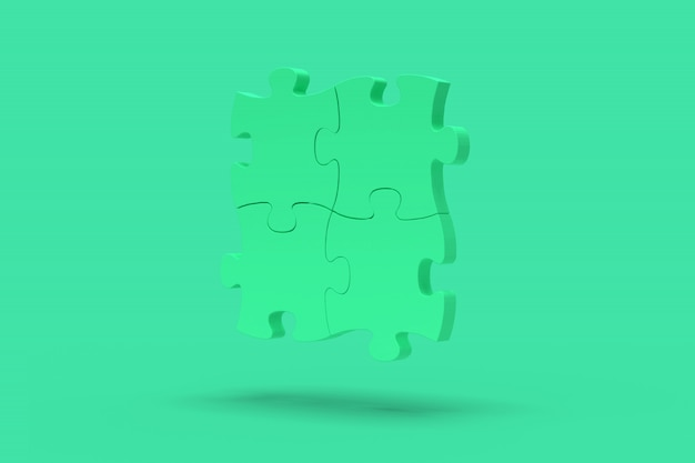 Blue puzzle on a green background. abstract image. minimal concept problem business. 3d render.