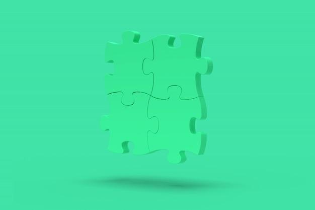 緑の背景に青のパズル。抽象的なイメージ。最小限のコンセプト問題ビジネス。 3dレンダリング。