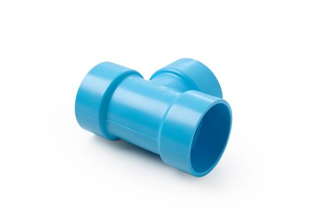 격리 된 흰색 배경에 파란색 pvc 파이프