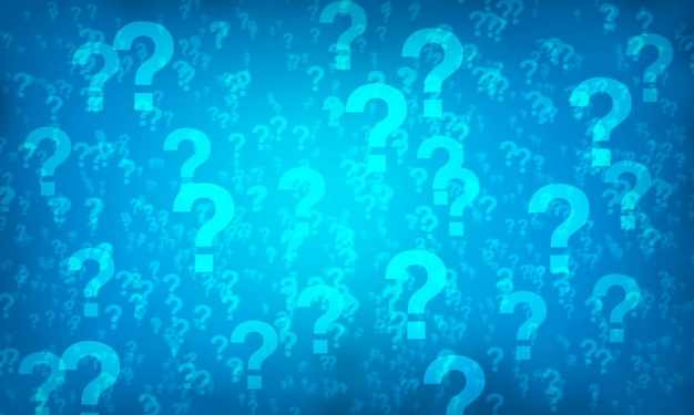 Blue question mark random pattern background. illustration.