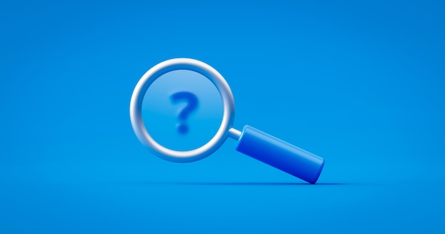 Blue question mark and search magnifying glass symbol concept on find faq background with discovery or research magnifier object. 3d rendering.