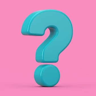 분홍색 배경에 이중톤 스타일로 파란색 물음표 기호. 3d 렌더링