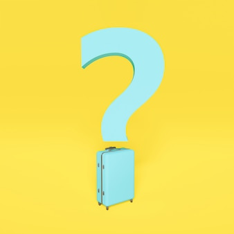 Blue question mark with dot shaped suitcase. concept travel, new normal. yellow background. 3d rendering