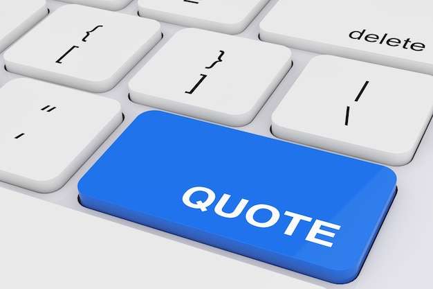 Blue quote key on a white pc keyboard extreme closeup. 3d rendering