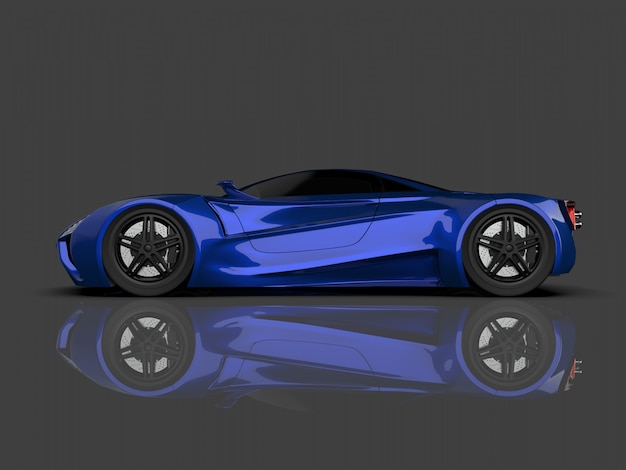 Blue racing concept car image of car on gray glossy