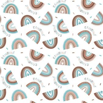 Синий фон радуги бохо радуга бесшовные модели дети дизайн мальчика повторяющийся узор