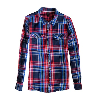 Blue and red checkered shirt. white background. isolate