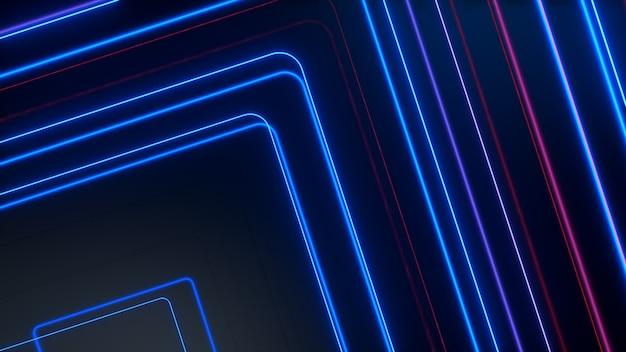 青赤の輝くネオンラインは、ハイテクの未来的な動きを抽象化します