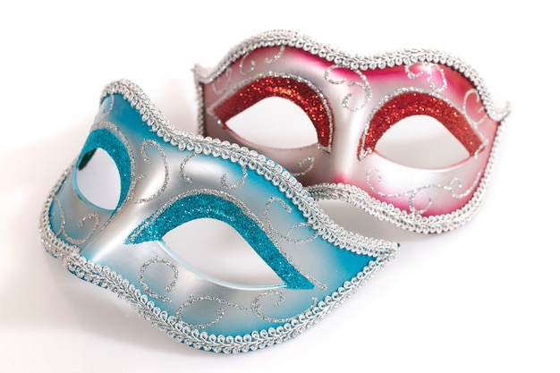 Blue and red venetian masks