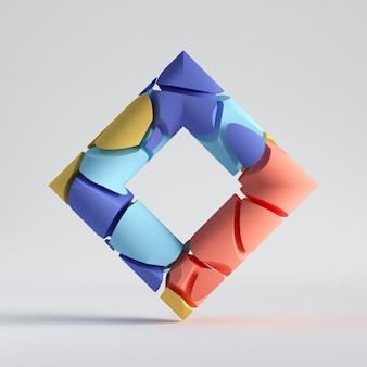 Синий красный желтый элементы разделить геометрический объект, изолированные на белом фоне