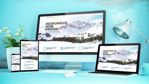 Blue responsive desktop with devices showing responsive  website 3d rendering