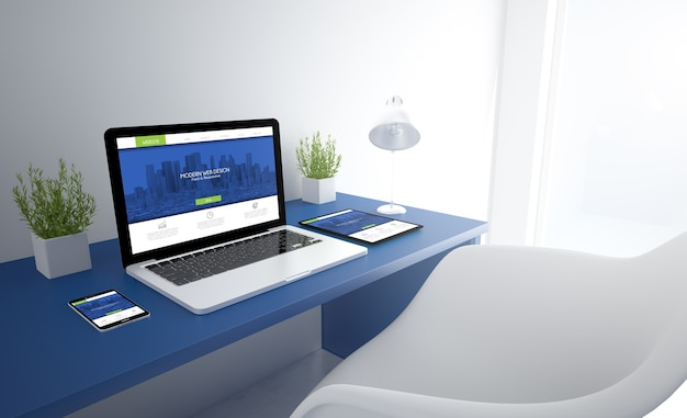 Blue responsive studio with responsive design on devices screen