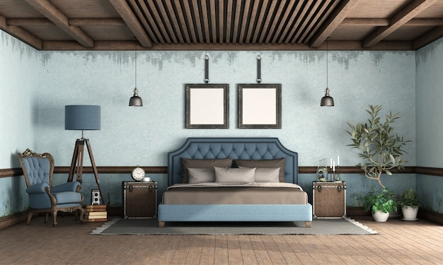 クラシックなスタイルのダブルベッドと青いレトロなベッドルーム