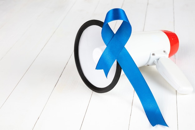 Blue ribbon symbolic of prostate cancer awareness campaign and men's health