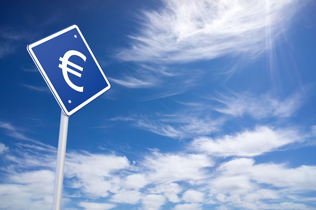 Blue road sign with euro sign inside on blue sky background