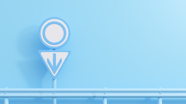 Blue road signs with male symbols for background. minimal idea concept, 3d render.