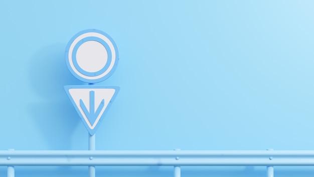 背景の男性のシンボルと青い道路標識。最小限のアイデアのコンセプト、3dレンダー。