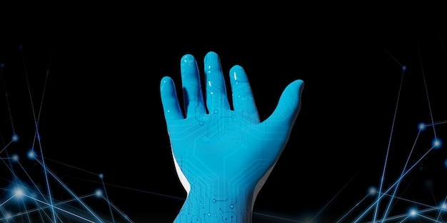 Blue robot hand with binary code library ideas presented in the digital age