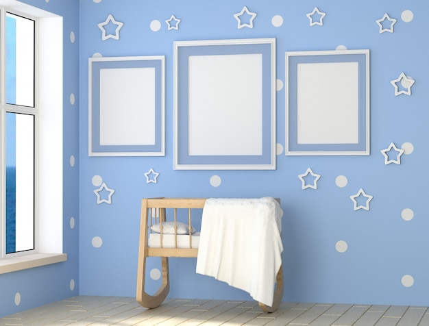 Blue room for a baby boy a lot of daylight. wooden cradle, pillow and blanket.