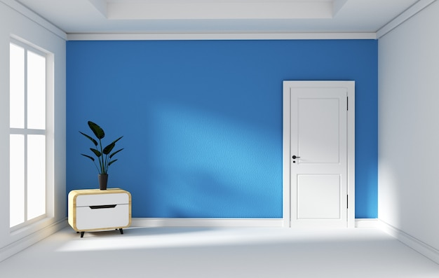 Blue room -beautiful room, empty room , modern bright interior. 3d rendering
