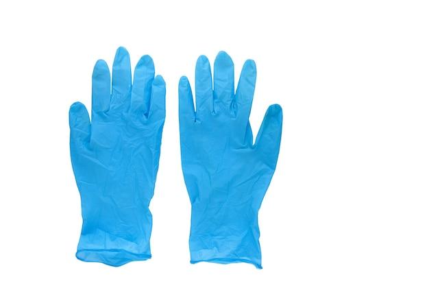 Синие резиновые перчатки одна пара, изолированные на белом фоне, концепция защиты