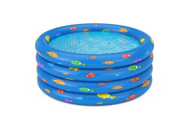 흰색 바탕에 파란색 고무 풍선 어린이 수영장. 3d 렌더링