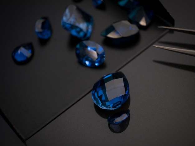 Blue sapphire on black shire table
