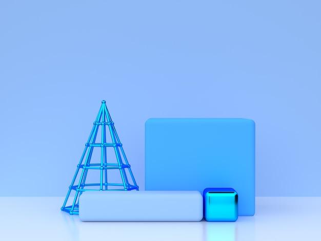 Blue scene blank podium 3d rendering