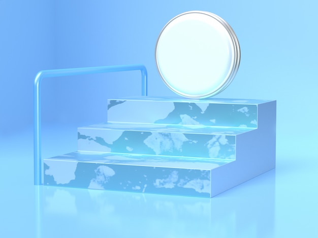 Blue scene staircase white circle abstract 3d rendering scene