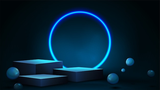 Blue scene with winners blue cube pedestal with white realistic bouncing spheres and neon ring