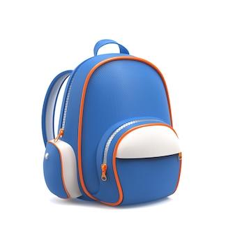白で隔離の青い学校のバックパック