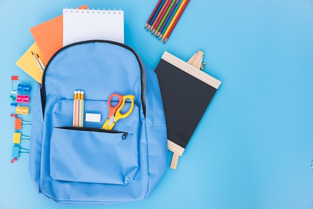 Blue school bag backpack and accessories tools for children education