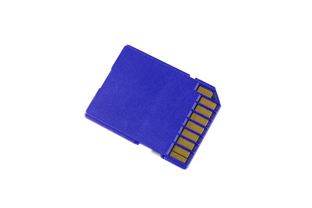 흰색 배경에 고립 된 연락처와 파란색 sd 카드
