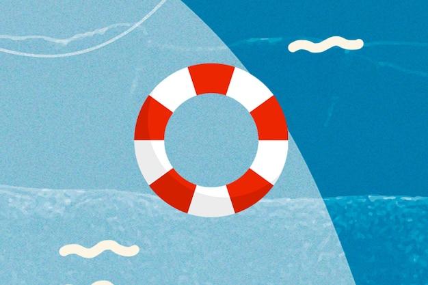 Синее море фон с плавательным кольцом смешанная техника