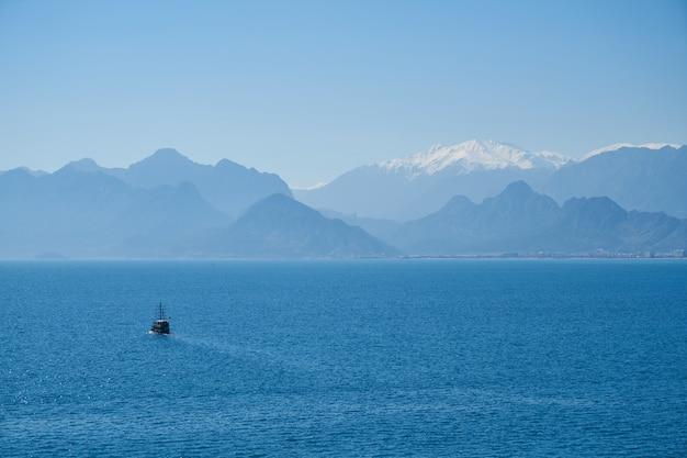 Blue sea and beautiful mountains